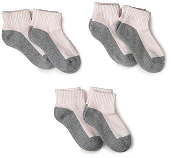 Jefferies Socks Little Girls'  Sport Quarter Half Cushion 6 Pair Pack Socks, Pink/Grey, 6-7.5