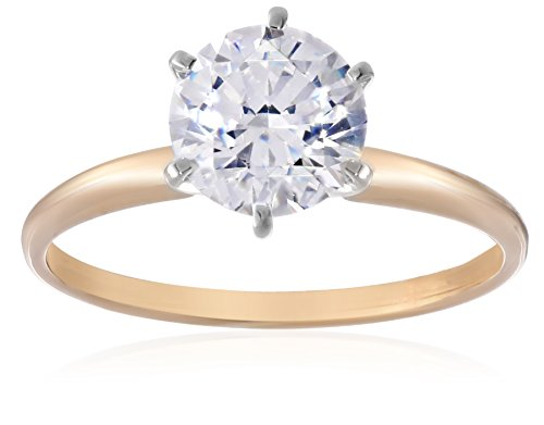 14k Yellow Gold Round-Cut Solitaire Ring Made with Swarovski Zirconia (2 cttw), Size 7