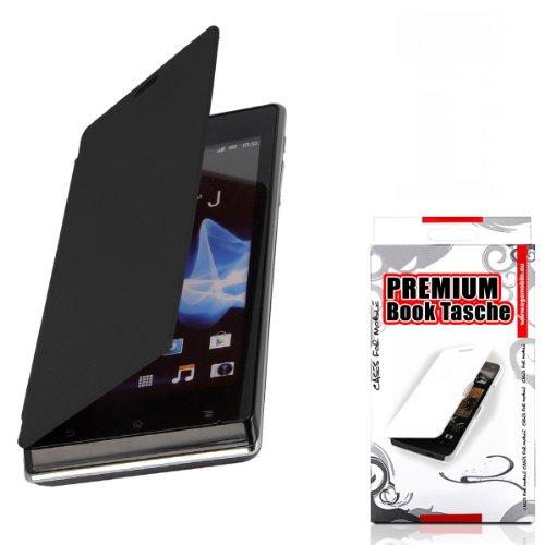 Elegantes Flip Case für Sony - WÄHLEN SIE IHR HANDY - Handy Tasche Schutz Hülle ETUI BOOK (Sony Xperia J ST26i, Schwarz)