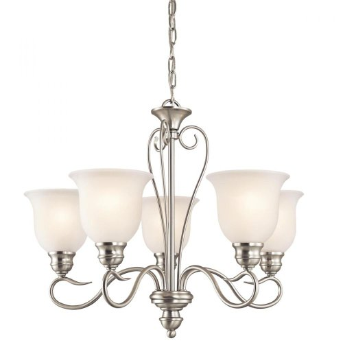 Inspirational Kichler Lighting NI Tanglewood Light Chandelier Brushed Nickel Finish with Satin Etched Glass