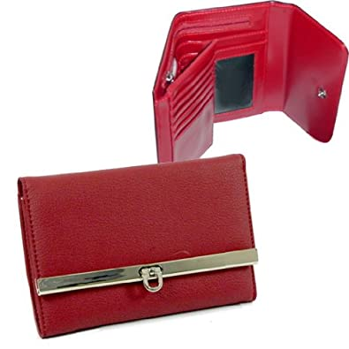 HPW Handbags Plain leather like fold over flap with flip clasp checkbook wallet Red