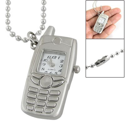 White Square Dial Silver Tone Cell Phone Style