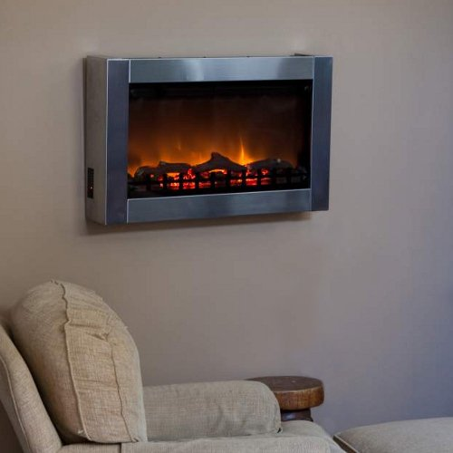Wall Mounted Indoor Electric Fireplace - Stainless Steel picture B003QTYSNW.jpg
