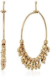 Mizuki 14k Gold Bead Fringe Hoop Earrings