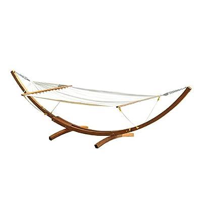 Outsunny® Hängematte für 2 Personen Holzgestell Schaukel Sonnenliege Weiß bis 180 kg belastbar von hergestellt für Outsunny bei Gartenmöbel von Du und Dein Garten