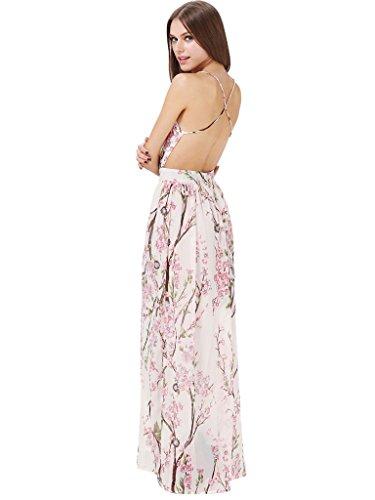 Floerns Women's Floral Backless Chiffon Maxi Beach Dress Pink M