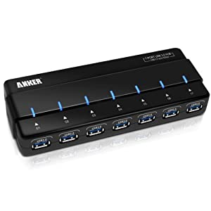 Anker Uspeed USB 3.0 7-Port Hub with 36W Power Adapter and 3ft USB 3.0 Cable [VIA VL812 Chipset]