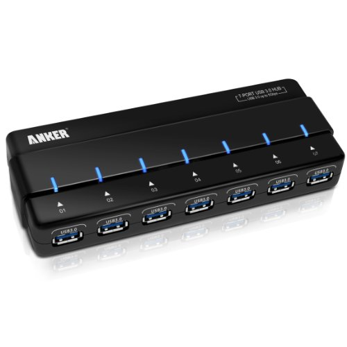 Anker® USB 3.0 7-Port Hub with 36W Power Adapter [12V 3A High-Capacity Power Supply and VIA VL812 Chipset]