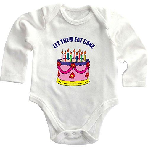 Let Them Eat Cake Birthday Cake Baby Infant Long Sleeve Baby Bodysuit Creeper White Newborn front-867197
