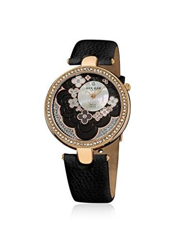 Akribos XXIV Women's AK601BK Black/White Mother of Pearl Stainless Steel Watch