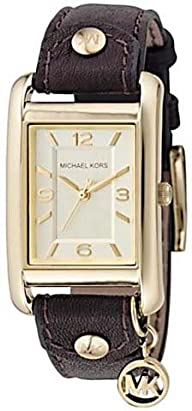 Michael Kors Watches Michael Kors Ladies Leather Rectangle with Charm (Brown)