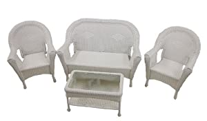 4-Piece White Resin Wicker Patio Furniture Set- 2 Chairs, Loveseat & Table from LB International