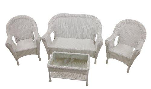 Sale 4 Piece White Resin Wicker Patio Furniture Set Reviews Wf 47i