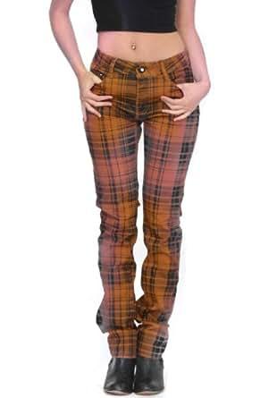 Tartan checked punk rockability skinny jeans - dark orange & black (8)