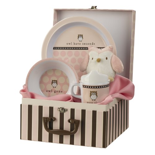 Grasslands Road Wish Come True Baby's First 3-Piece Pink Place Setting In Suitcase Gift Box with Owl Squeake Toy