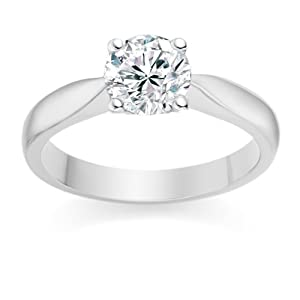 0.57 Carat E/VS2 Round Brilliant Certified Diamond Solitaire Engagement Ring in 18k White Gold