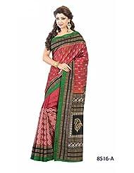 Graceful Red Bhagalpuri Printed Art Silk Designer Saree