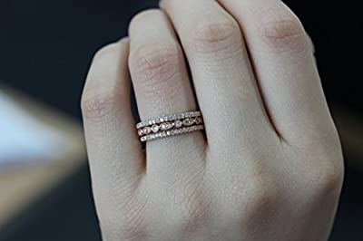 Voguegem 3pcs HALF Eternity Band Ring Set 1.2mm Solid 14k Rose Gold Diamonds Wedding Band & Art Deco Engagement Ring Wedding Ring Set