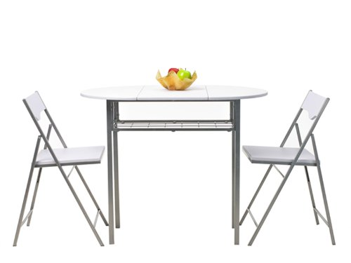 Krasavic Kitchen Fold Breakfast Bar Drop Extending Oval/Rectangular Card Corner Table with Stack Chairs Set of 3 in Snow White,Silver Metal Frame