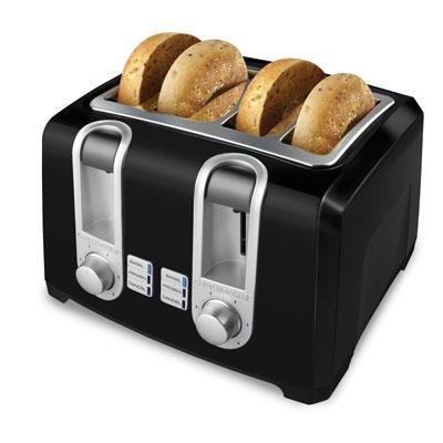 Applica Black Decker 4 Slice Toaster Black Extra Wide Slots Cord Wrap from Applica