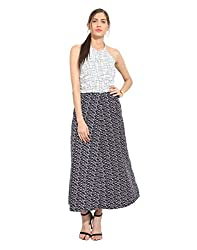 Blue & white abstract crepe dress X-Small