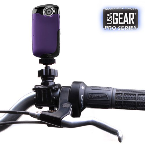 USA Gear Action-Ready Handlebar Camera Video Mount for Flip MinoHD and UltraHD / Kodak PlaySport and Zi8 / Sony Bloggie Series Pocket Video Cameras **Includes Flexible Mini Tripod