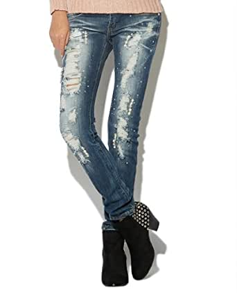 ffa88a7f722 Amazon com  Wet Seal Women s Pearl   Rhinestone Skinny Jean 13 Med Sndblst   Clothing