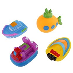 Magideal 4pcs Cute Rubber Spraying Water Watercrafts Baby Kids Bath Toys