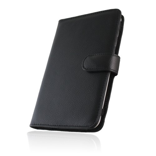 Navitech Genuine Black Napa Leather Flip Open 7 Inch Book Style Carry Case / Cover for the Coby Kyros MID 7010, 7010C, 7013, 7018, 7001, 7012, 7016, 7022, 7120, 7125, 7127, 7024, 7026, 7027, 7037 from Electronic-Readers.com