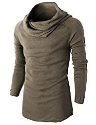 H2H Men Casual Turtleneck Slim Fit Pullover Sweater With Shirring Neck line BEIGE US S/Asia M (KMTTL047)