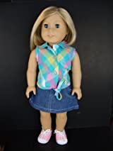 2pc Summer Outfit Blue and Pink Plaid Sleeveless Shirt and Jean Skirt Designed for 18 Inch Doll Like the American Girl Dolls Shoes Sold Seperately