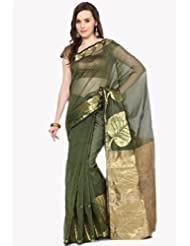 Aabeer Cotton Green Supernet Banarasi Saree With Blouse Piece