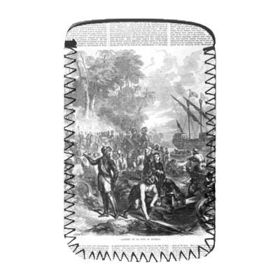 Landing of De Soto in Florida, from.. - Handysocke - Standardgrö�e - Art247 - Phone Sock