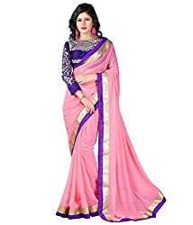 Youth Mantra Women's Embroidered Chiffon Baby Pink Saree