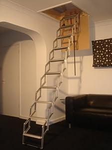 unique 9 39 concertina loft ladder with rubber. Black Bedroom Furniture Sets. Home Design Ideas