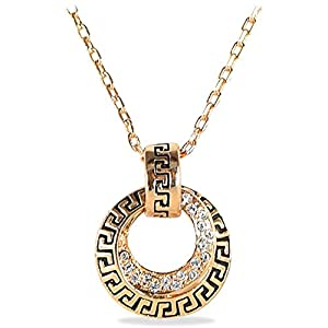 Women's 18k Rose Gold Plated Necklace with Double Circle Pave Crystal Pendant