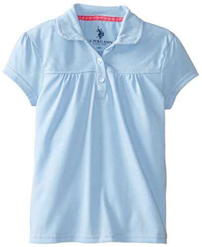 U.S. Polo Association Little Girls' Short Sleeve Jersey Twofer Top, Light Blue, 4