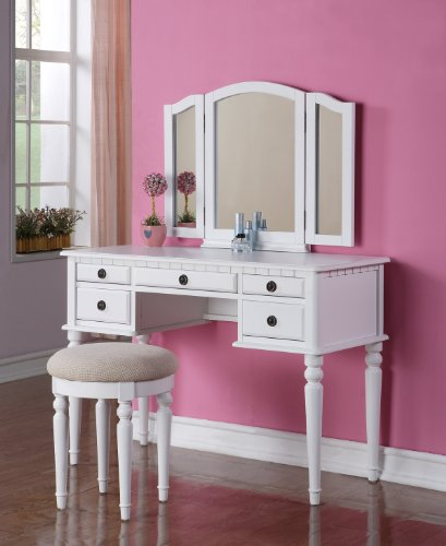 Best Price Poundex Bobkona St. Croix Vanity Set with Stool White Color