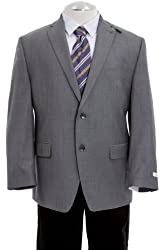 Calvin Klein Men's Grey Plaid Wool Slim-Fit Sports Coat