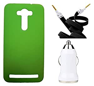 XUWAP Hard Case Cover With Aux Cable & Car Charger For Asus Zenfone Selfi - Green