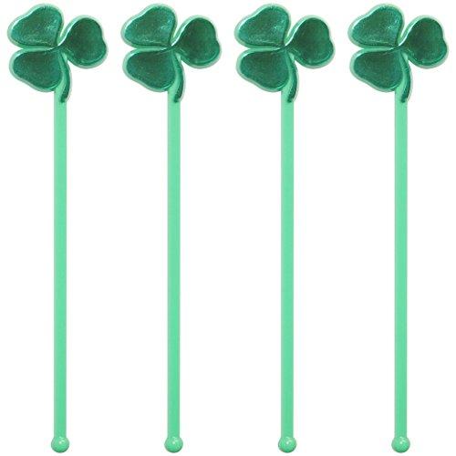royer-6-inch-plastic-shamrock-st-patricks-day-clover-swizzle-sticks-drink-stirrers-barware-set-of-24