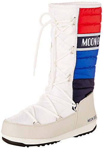 Moon Boot W.E. Quilted, Stivali, Unisex - adulto, Multicolore (Bianco/Blu/Rosso), 38