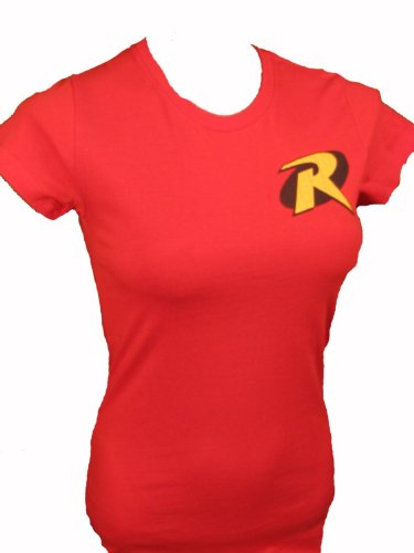 Robin Logo Symbol Womens Fitted Juniors Batman T-shirt (Small)