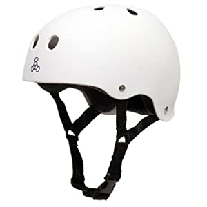 Triple Eight Brainsaver Rubber White Skate Helmet & Sweatsaver Liner by Triple Eight