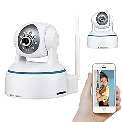 HD 2 Megapixels 1080P P2P WiFi Wireless IP Camera with Pan Tilt, Night Vision, SD Card up to 64GB for Storage, Plug and Play, Scan QR Code to remote view on mobiles, Two-Way Audio