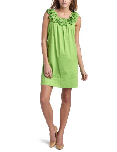 Maggy London Women's Ruffle Flower Neck Shift Dress