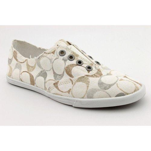 coach womens size 10 white textile flats shoes