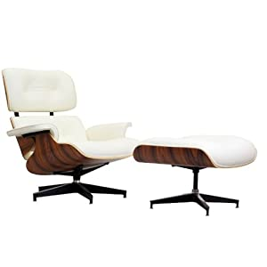 LexMod Eaze Lounge Chair in White Leather and Palisander Wood