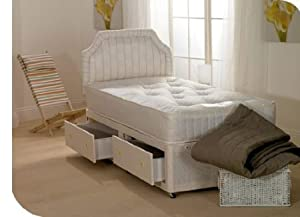 Deluxe ambassador open spring memory foam divan bed for Single divan bed with drawers and mattress