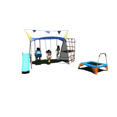 Ironkids Premier 650 Complete Fitness Playground Swing Set With Rope Climb And Refreshing Mist back-565587